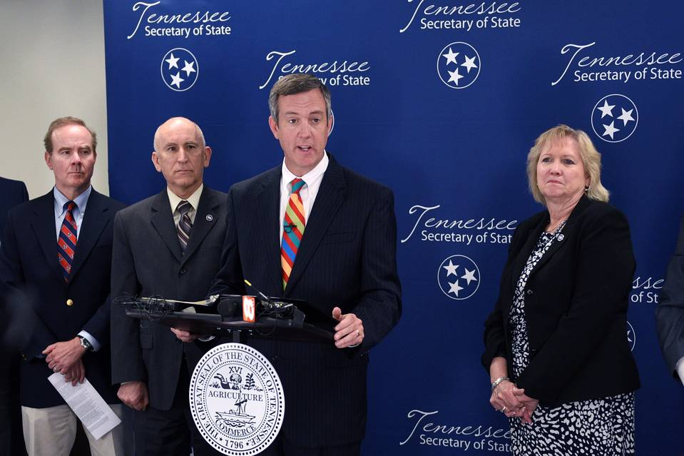 Tennessee Secretary of State Tre Hargett announces a federal lawsuit against four cancer charities on Tuesday in Knoxville, Tenn.