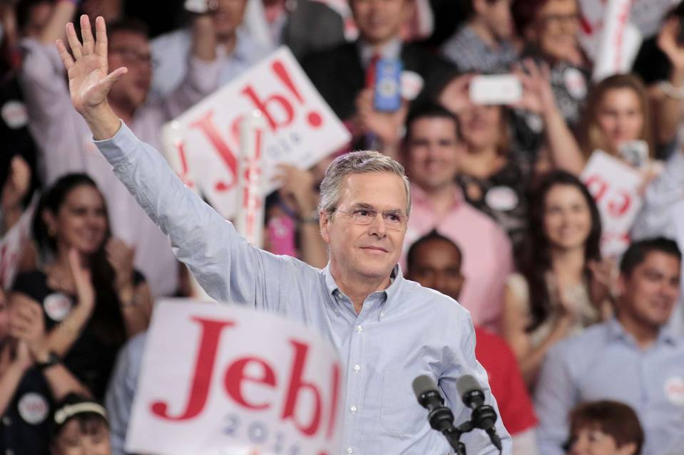 Former Florida Governor Jeb Bush formally announces his campaign for the 2016 Republican presidential nomination on Monday, June 15, 2015 in Miami.