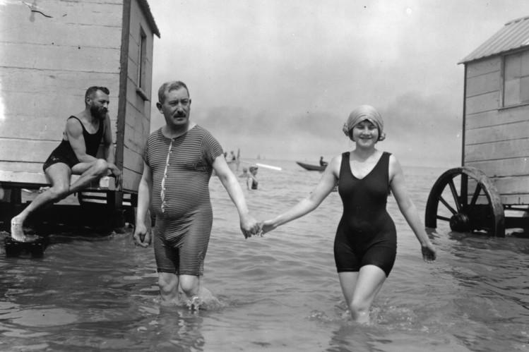 Bathers in Belgium in 1911.