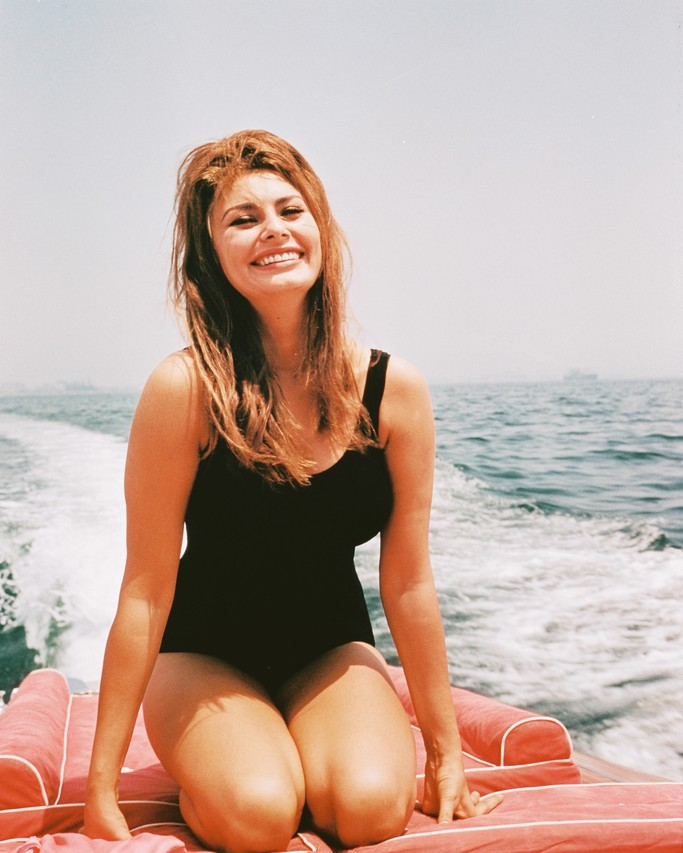 Sophia Loren on a motor boat, in the 1960s.