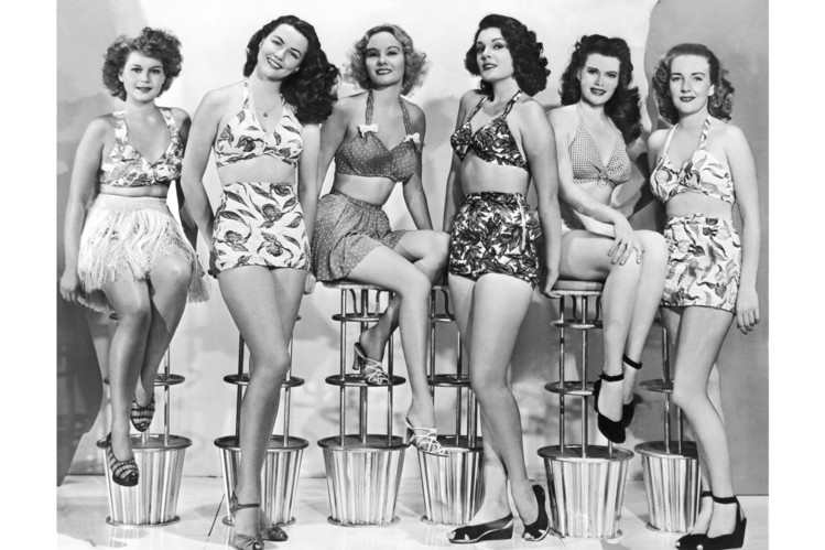 Two-piece bathing suits in the 1950s.