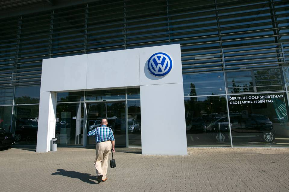 Volkswagen's shares have dived in response to the emissions scandal.