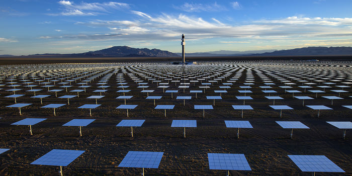 The Crescent Dunes Solar Energy Project, a 110-megawatt solar thermal power facility, near Tonopah, Nev., June 26, 2014. Officials with the project say they expect it to start generating electricity this October