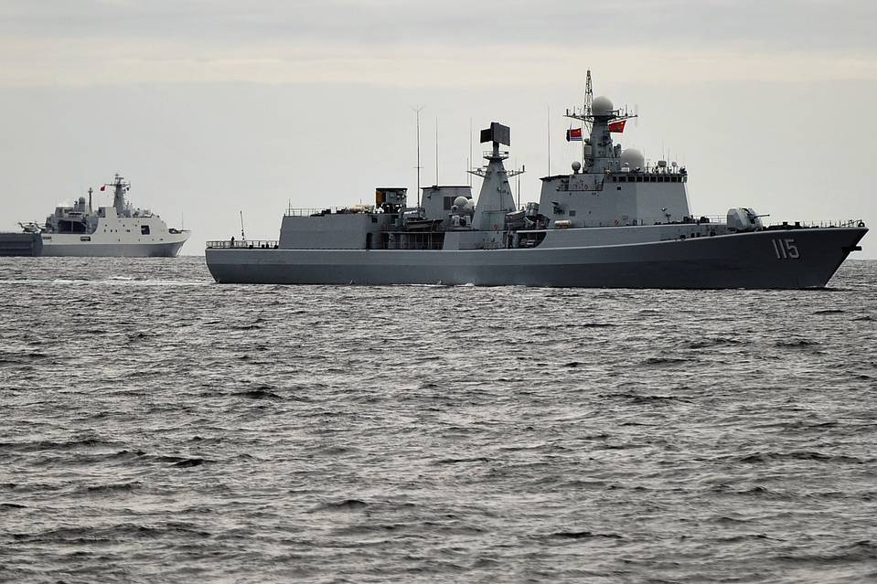 Chinese warships participating in joint Russian-Chinese military exercises on Aug. 25; afterward, five of the Chinese ships sailed to the Bering Sea, passing through U.S. territorial waters.