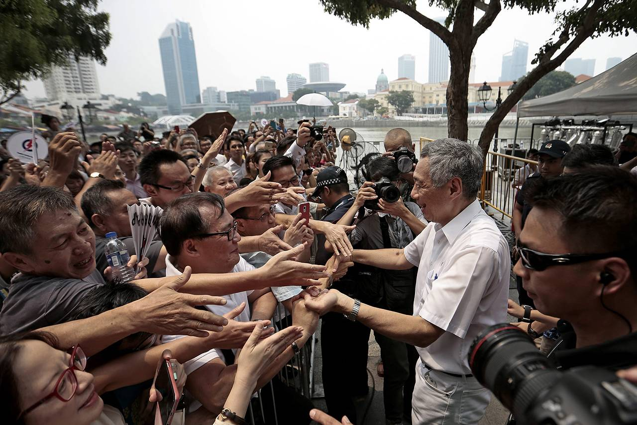 Singapore Prime Minister Lee Hsien Loong, who is also secretary-general of the ruling People's Action Party, campaigned this week ahead of Friday's election.