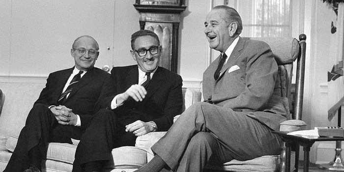 President Lyndon Johnson hosts Henry Kissinger at the White House days after the 45-year-old Harvard professor was tapped by President-elect Richard Nixon as his national security adviser, Washington, Dec. 5, 1968. At left is the outgoing national security adviser, Walt Rostow.