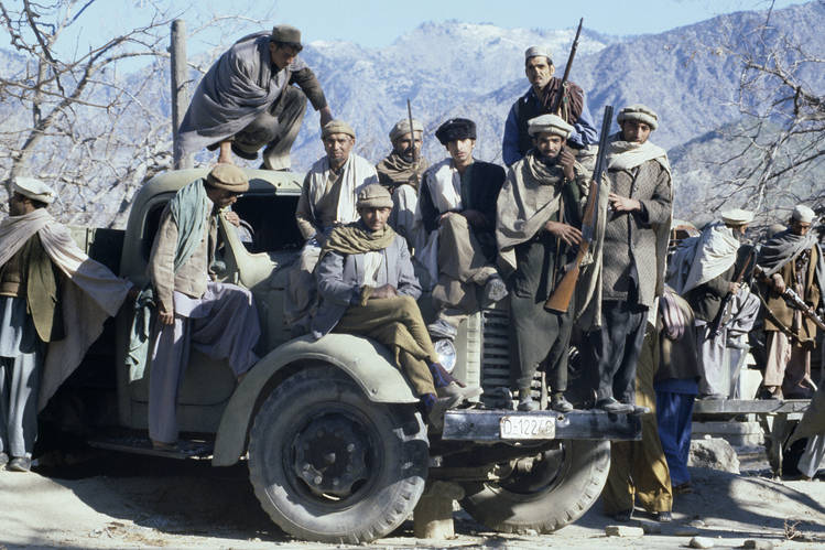 Afghan mujahideen battled Soviet troops after Moscow's 1979 invasion of Afghanistan, Jan. 1980, Kunar Province, Afghanistan.