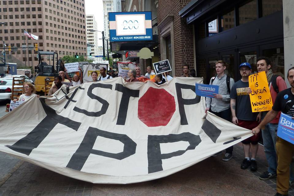 Protesters in Atlanta on Thursday call for the Trans-Pacific Partnership to be rejected. U.S. labor unions and their allies among consumer and environmental groups are among the biggest critics of the TPP.