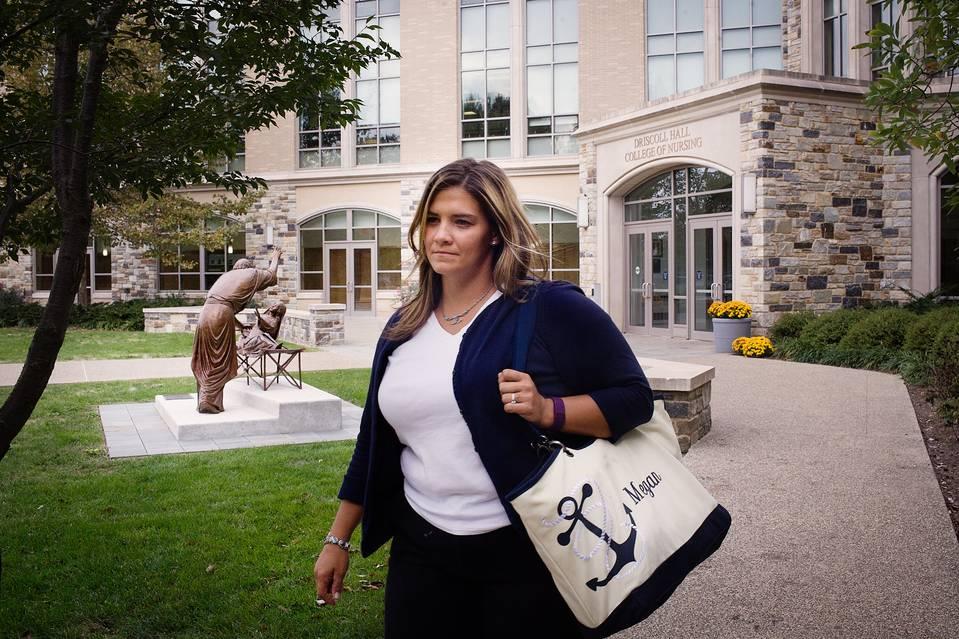Megan Goodman, who earned an associate degree in nursing, is still seeking work after applying for more than three dozen hospital jobs.