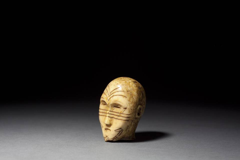 Head from Human Doll Figure, with Tattoo Patterning (ca. 500-800)