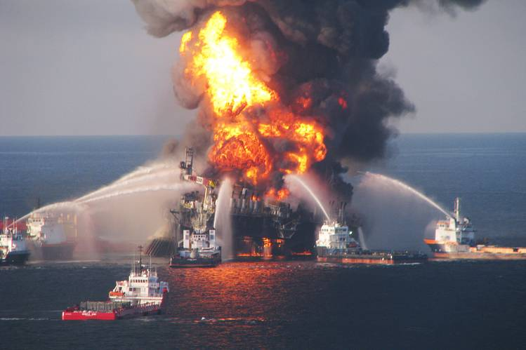 The scene of the 2010 Deepwater Horizon oil-rig accident in the Gulf of Mexico.