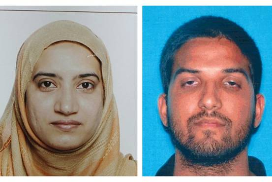 This undated combination of photos provided by the FBI, left, and the California Department of Motor Vehicles shows Tashfeen Malik, left, and her husband, Syed Rizwan Farook. The couple opened fire on a holiday party Wednesday in San Bernardino, Calif., killing 14 people and injuring 21 others. They later were killed in a shootout with police