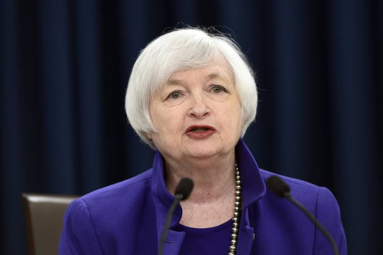 Federal Reserve Chair Janet Yellen speaks during a news conference in Washington on Wednesday.