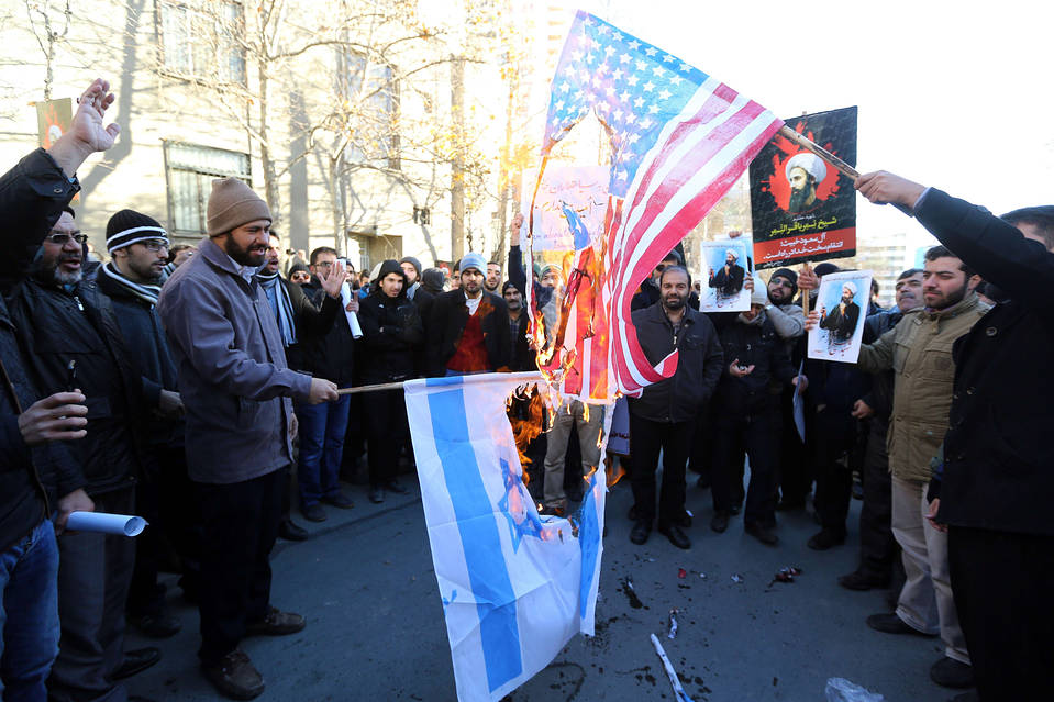 Protesters outside Saudi Arabia's embassy in Tehran on Jan. 3 also targeted Israel and the U.S.