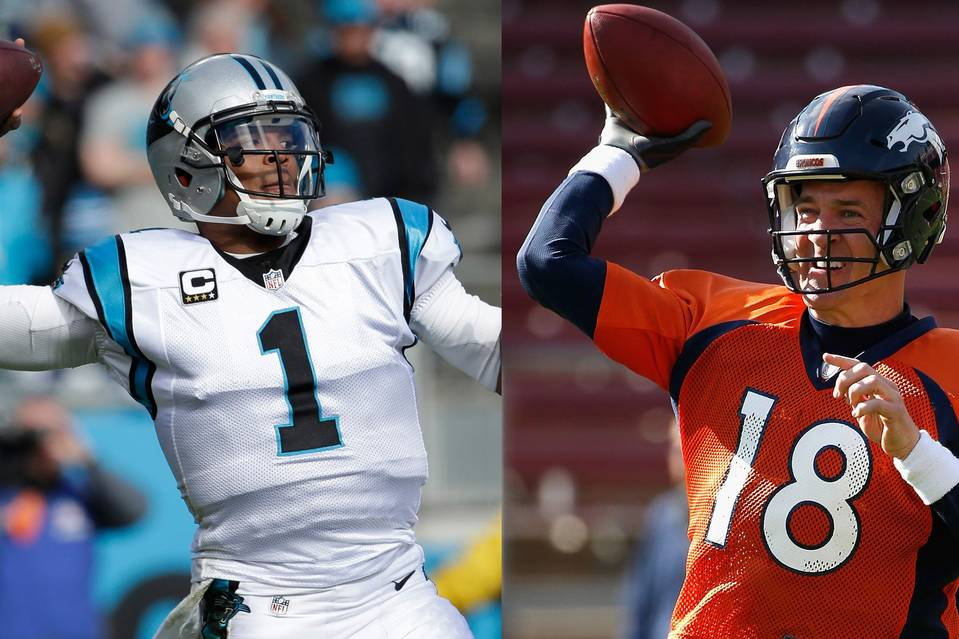 Quarterback Cam Newton, left, and Peyton Manning will lead the Carolina Panthers and Denver Broncos, respectively, on Super Bowl Sunday. They aren't likely to engineer a score in any quarter that ends in 2's.