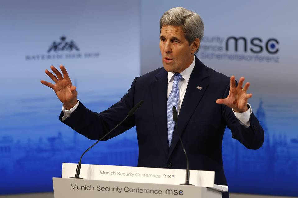 U.S. Secretary of State, John Kerry, addresses the Munich Security Conference on Saturday.