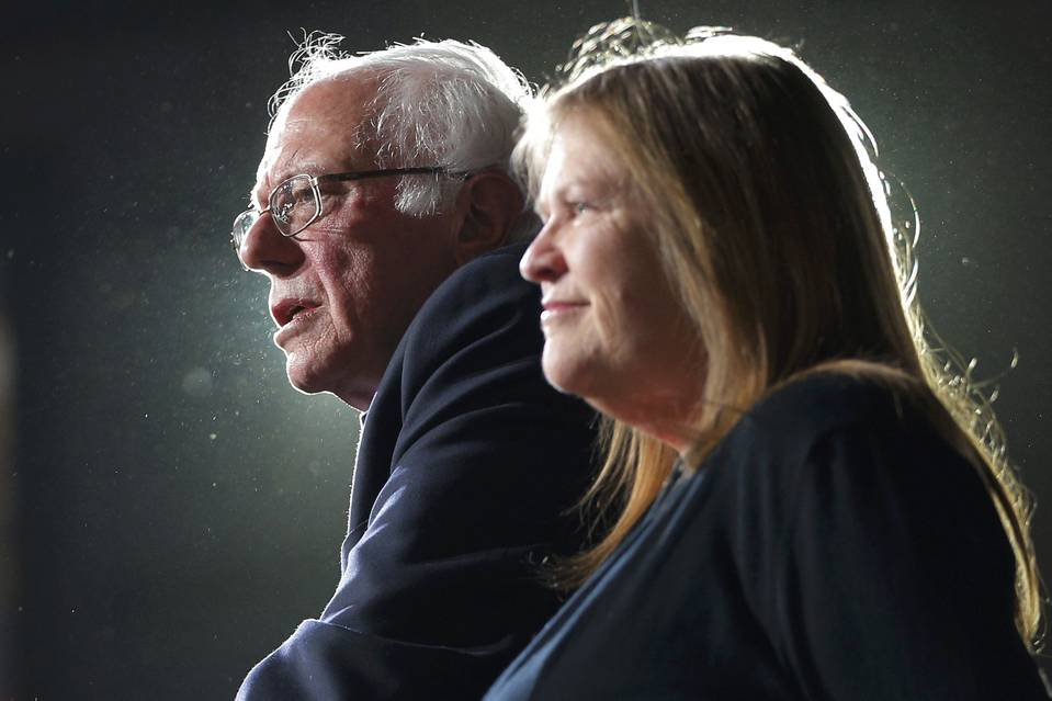 Bernie Sanders is joined onstage by his wife Jane at his Super Tuesday rally in Burlington, Vt., on Tuesday.