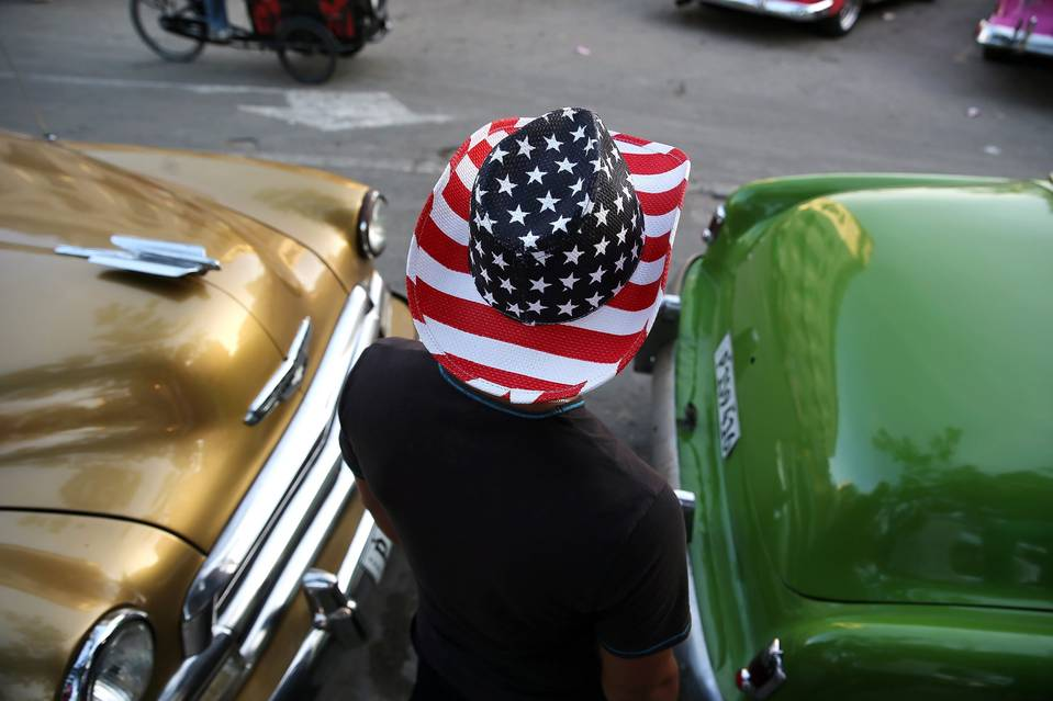 A man wears a hat in the U.S. colors in Havana, Cuba, which is preparing for a historic visit from President Barack Obama on March 20.