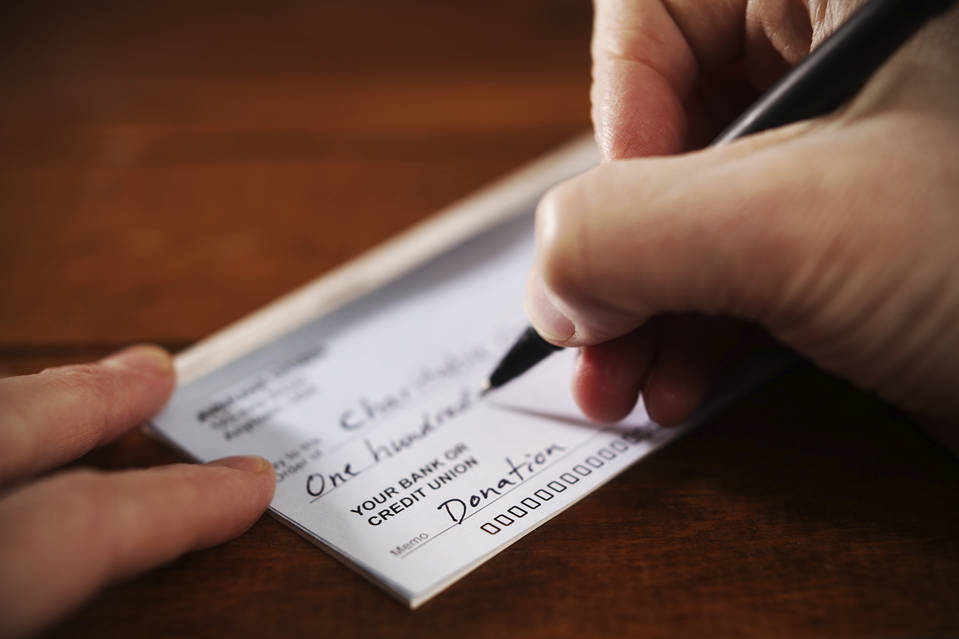 Image result for write check for charity