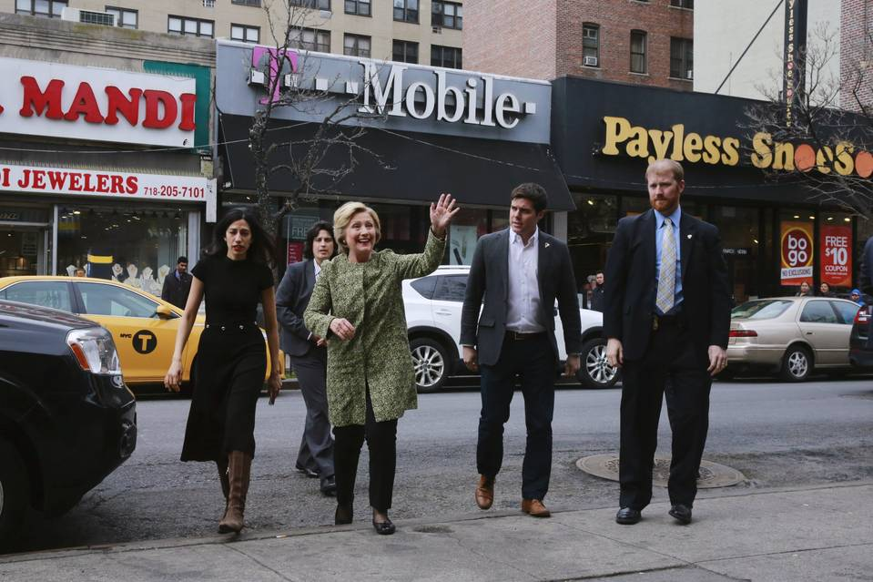 Democratic U.S. presidential candidate Hillary Clinton arrives on Monday to visit the Jackson Diner in the Queens borough of New York.