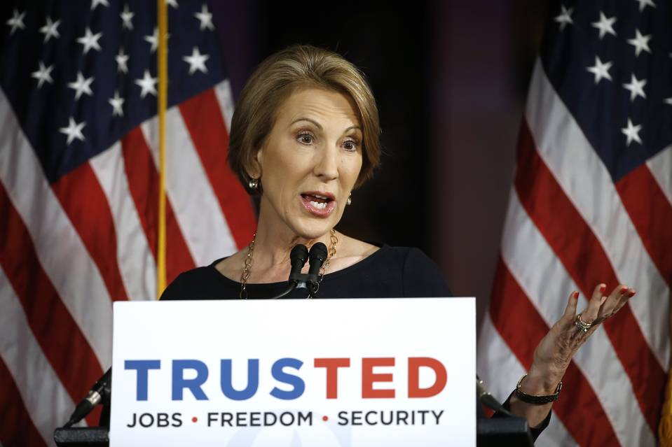 Carly Fiorina speaks at a campaign stop for Republican presidential candidate Ted Cruz in Philadelphia on April 19.
