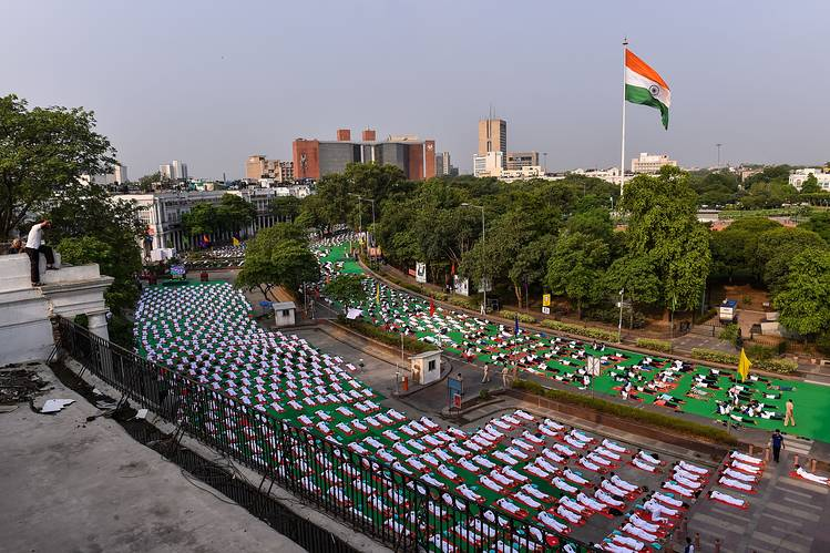 A yoga session happened in Delhi's Connaught Place Tuesday.