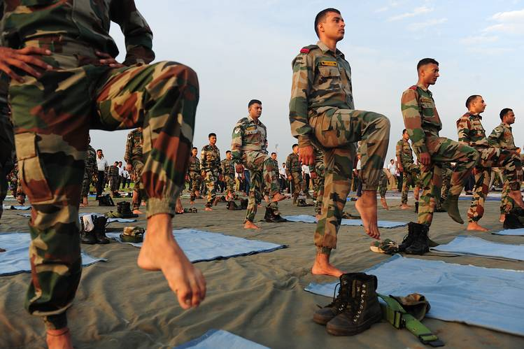 Indian Army soldiers participated in a yoga demonstration in the southern Indian city of Chennai Tuesday.