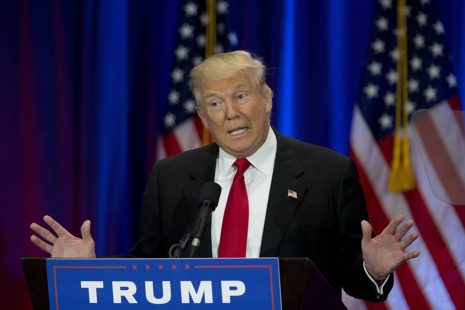 Republican presidential candidate Donald Trump speaking in New York on June 22.