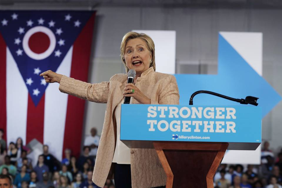 Democratic presidential candidate Hillary Clinton speaks at campaign event at John Marshall High School in Cleveland, Wednesday, Aug. 17, 2016. (AP Photo/Carolyn Kaster) Published Credit: Carolyn Kaster/Associated Press
