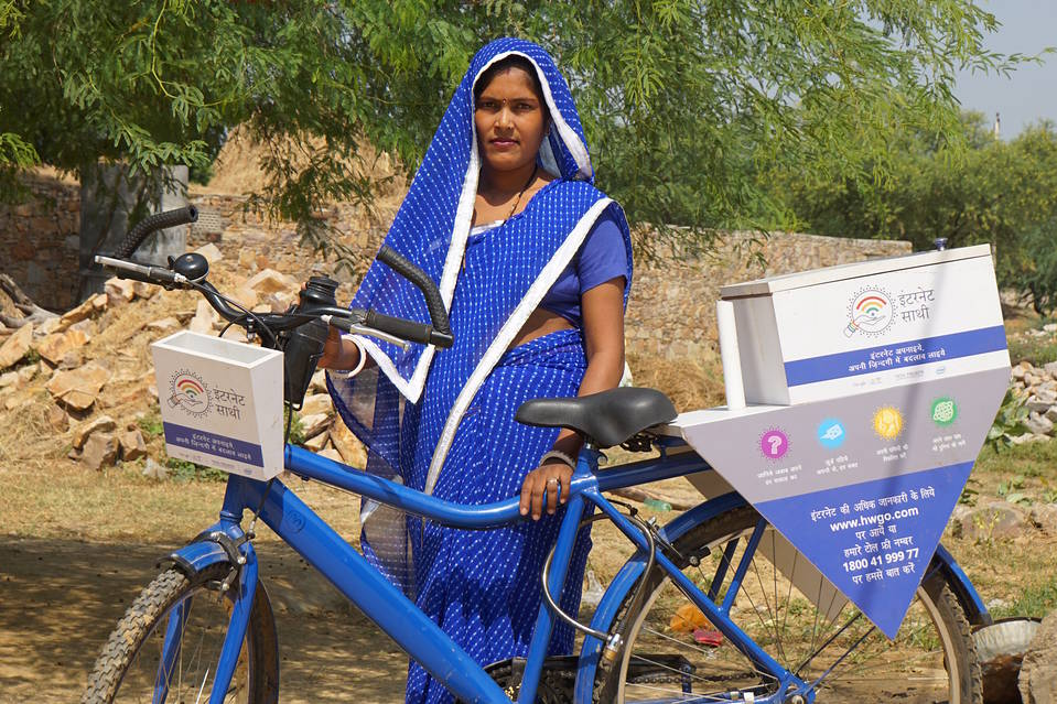 A web trainer who is taking part in Internet Saathi, the joint program of Alphabet, Inc.'s Google and local philanthropy Tata Trusts, in the village of Habibwala, in Rajastan, India, Sept. 28, 2016.