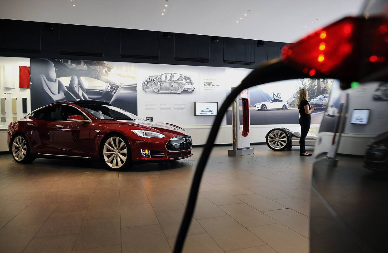 A Tesla showroom in San Jose, California. After many false starts, a new electric era for the automobile is looming into view.