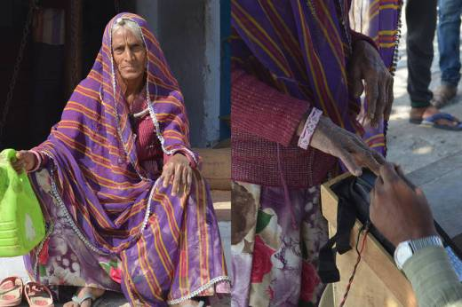 Hanja Devi, 80 years old, used a fingerprint reader at a ration shop in Rajasthan. But she couldn't log in with her fingerprints and left with an empty kerosene container.