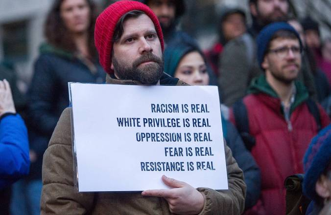 A protester in Portland, Ore., last week.