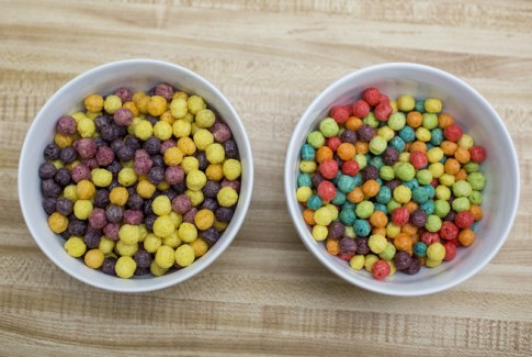 Healthy cereal. Naturally colored and flavored Trix on the left, compared with the artificial version on the right.