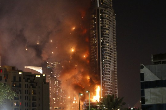 A fire on New Year's Eve 2015 burned up the exterior of the Address Downtown hotel in Dubai.