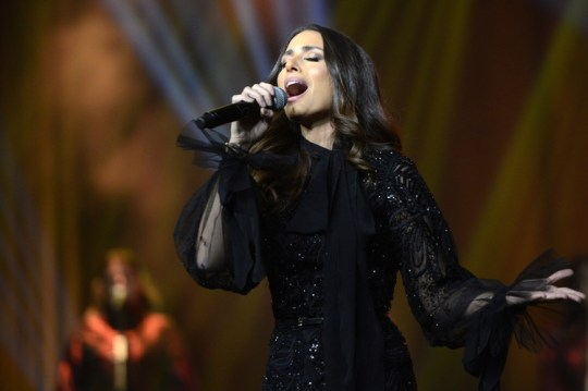 Lebanese singer Hiba Tawaji performs during the first-ever female concert in Riyadh on December 6, 2017.