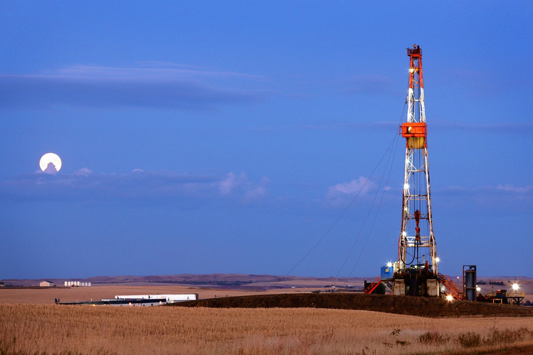 An oil drilling rig on the Bakken formation, Watford City, N.D.