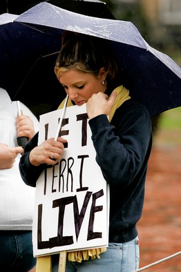 In Washington, D.C., during the 2005 legal battle over Terri Schiavo's fate.