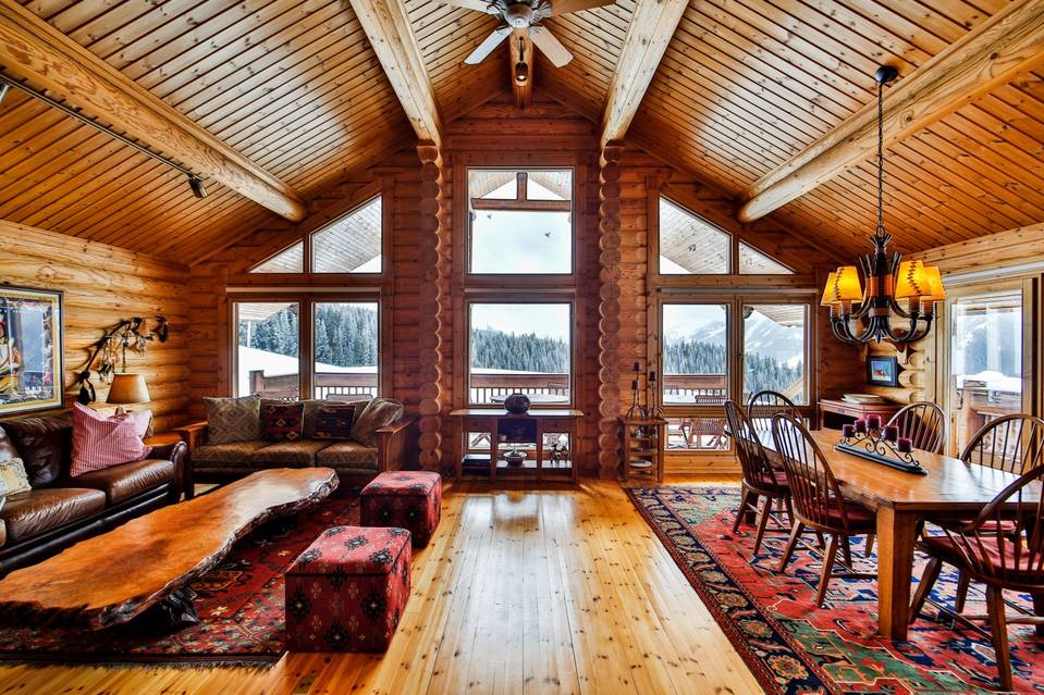 Adjacent to the Aspen Snowmass ski resort, the property includes much of the southwest face of Aspen Mountain. It includes this 1,000-square-foot, two-bedroom recreational cabin, reachable by skis, snowcat or snowmobile. (The cabin can also be accessed by car at certain times of the year.)