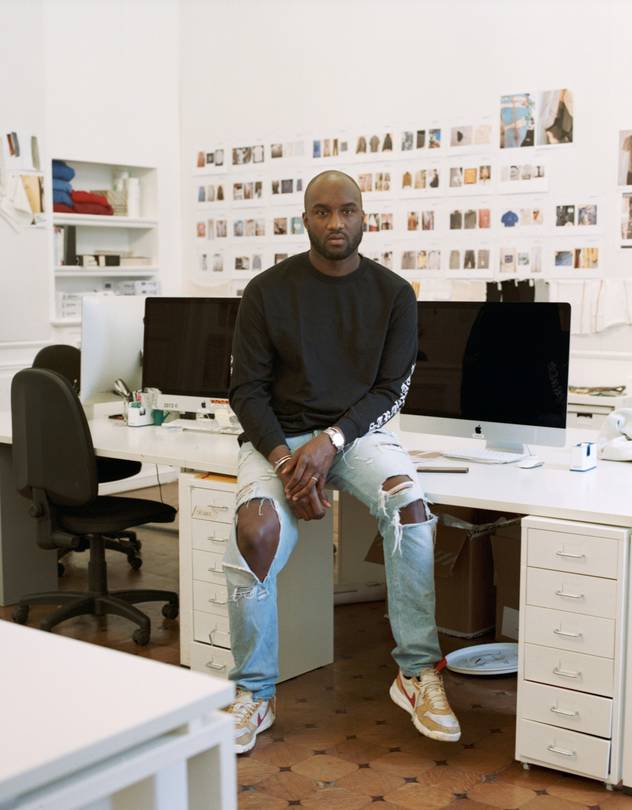 HOLEY ROLLER Virgil Abloh in his Milan design studio.