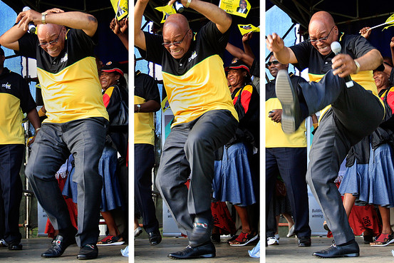 South African president, Jacob Zuma dancing in public