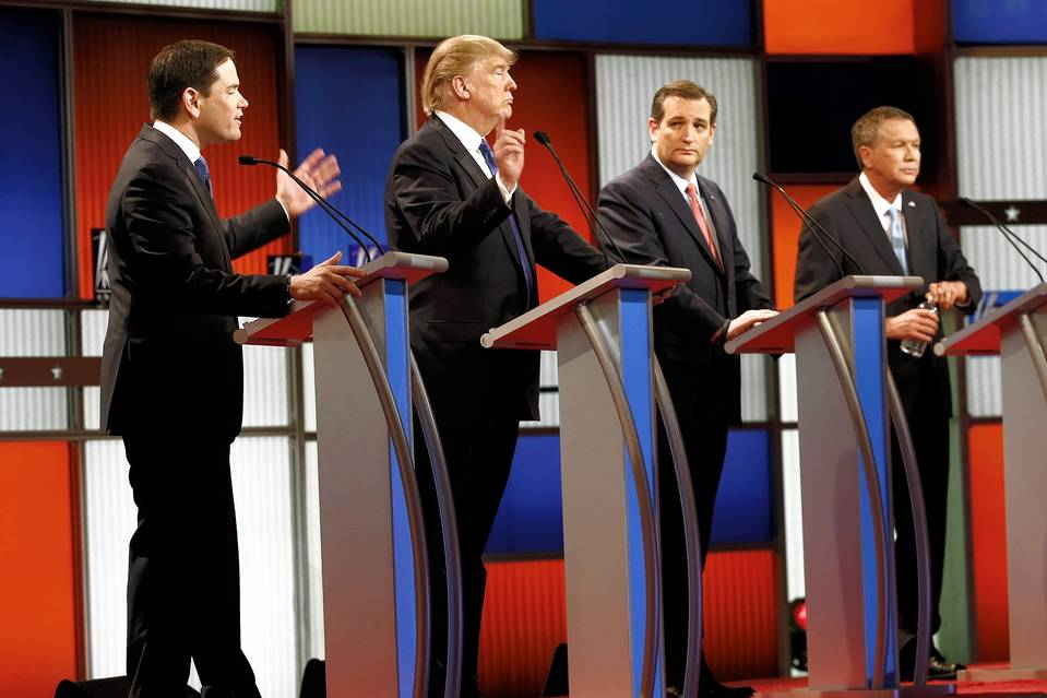 Republican presidential candidates (from left) Marco Rubio, Donald Trump, Ted Cruz, and John Kasich during the primary debate at Detroit's Fox Theatre on March 3.