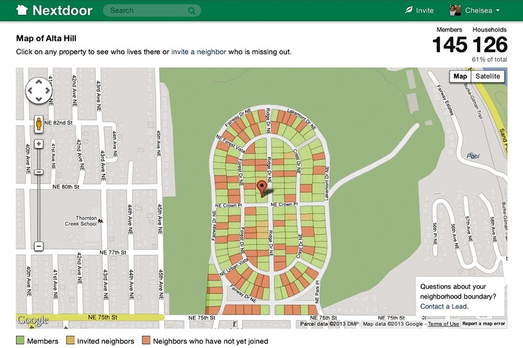 Map Of A Nextdoor Network Color Codes Members Invited Neighbors And Nonmembers