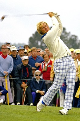 [Jack Nicklaus tees off at the 1973 Masters at age 33.]