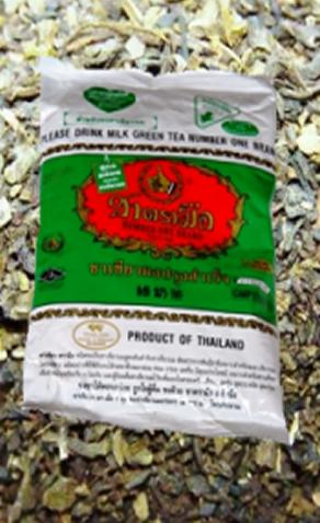 Thai-Tee: traditionelle thailändische Eistee-Mischung, grüner Tee