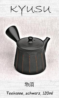 Japanisches Kyusu-Teekännchen, schwarz, 120ml, Handarbeit aus Ton