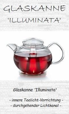 Von innen erleuchtete Glas-Teekanne 'Illuminata' mit Edelstahl-Stövchen