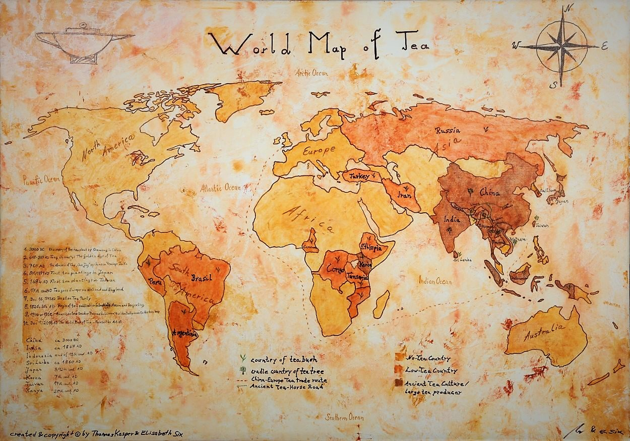 Die Weltkarte des Tees - Handgemalt (The World Map of Tea - Painted by Artist)
