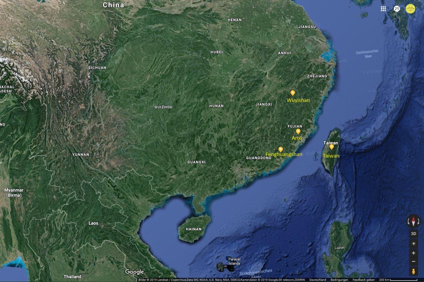 4 Herkunftsregionen für Oolong-Tees : Wuyishan, Anxi, Guangdong, Taiwan