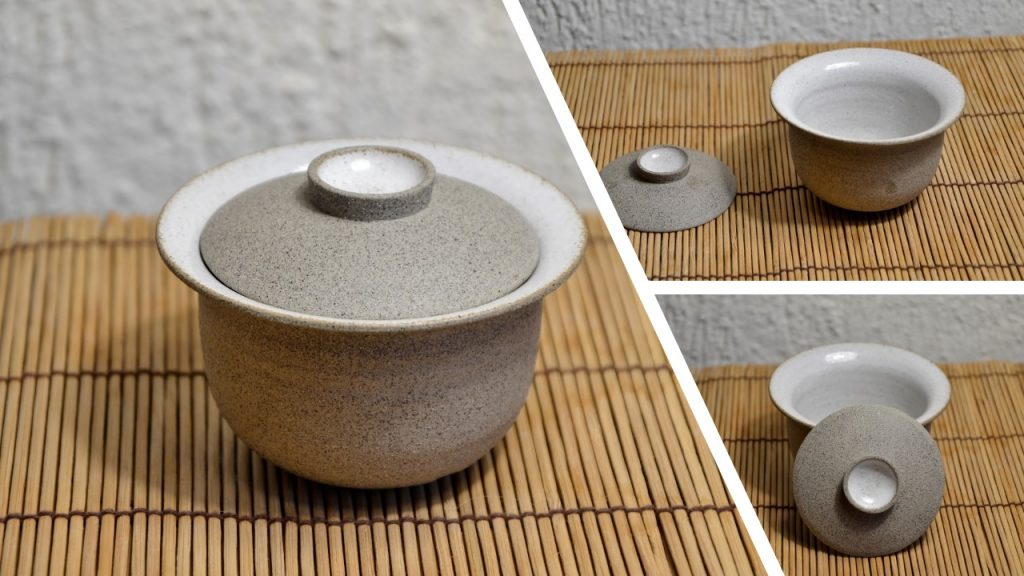 SiamTeas Signature Gaiwan, 120ml, light grey clay, white inner glaze, set with tea bowl, handmade according to SiamTeas specifications by Lower Saxon tea pottery master Karina Klages